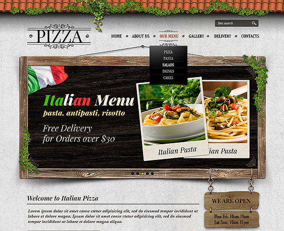 Pizzeria website templates & Themes by Price(low) | Gridgum