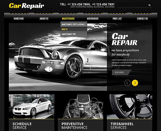 car service website template gridgum. Black Bedroom Furniture Sets. Home Design Ideas
