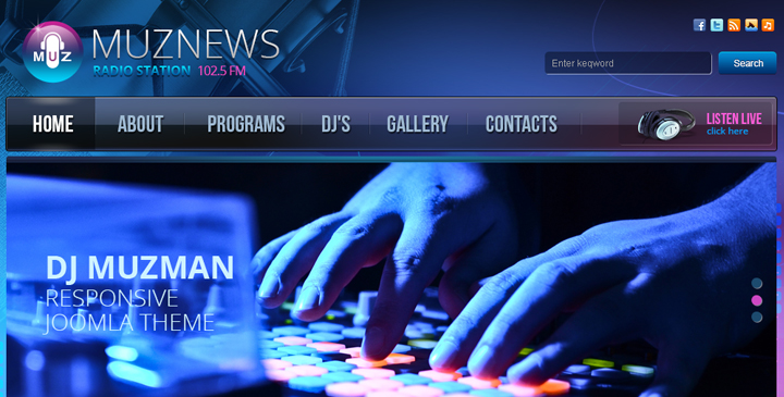 Music Radio Joomla Template Cms Website Template Gridgum