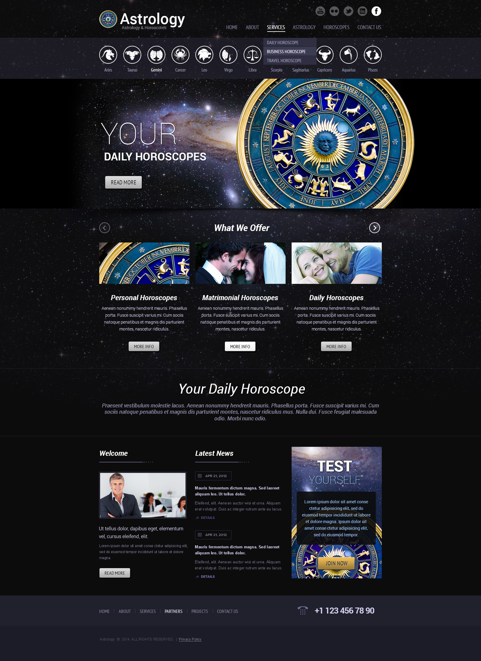 astrology bootstrap theme (template)