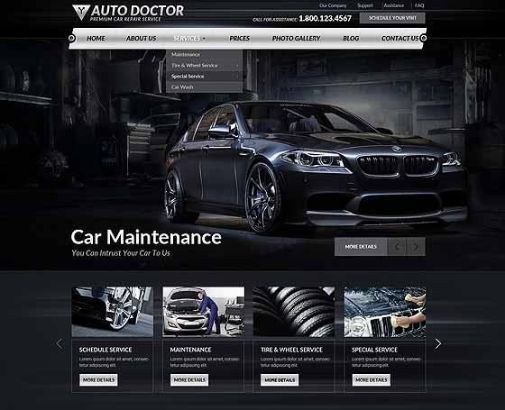 car repair website template by popular gridgum