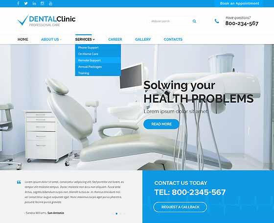 Dentist Websites Templates Gridgum - Dentist website template