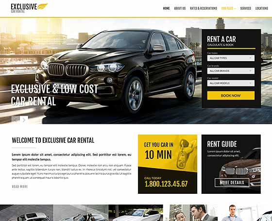 Rent a car website template