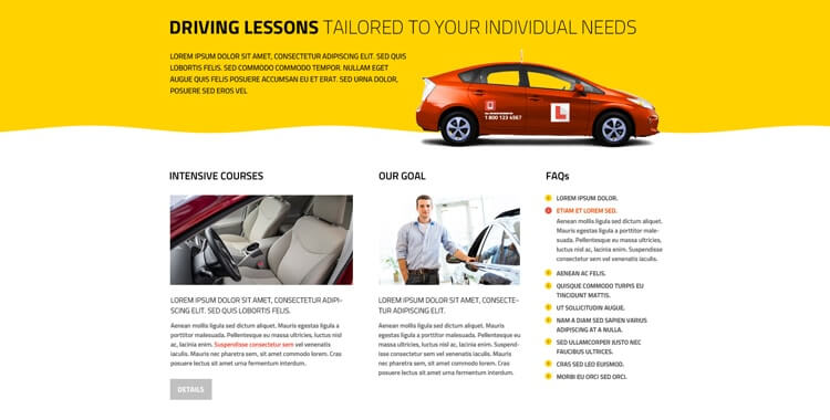 Driving School premium bootstrap template