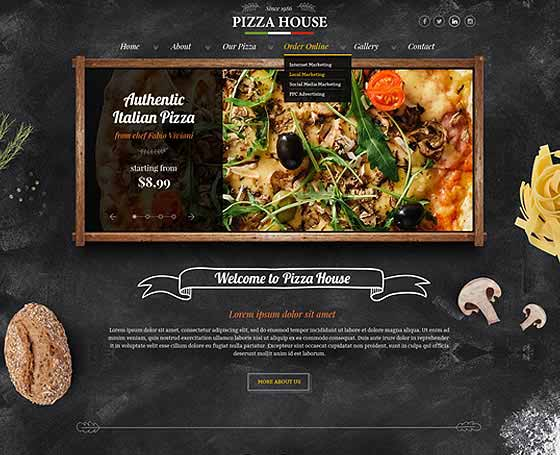 Pizza & beer house - PSD Template