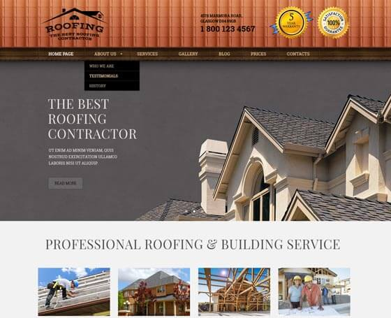 Roofing and Construction WordPress Theme