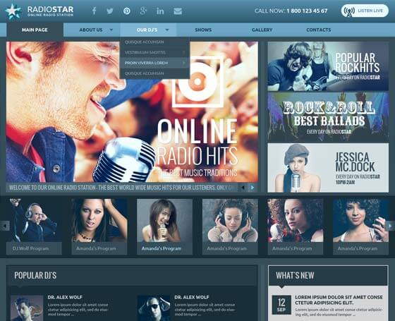 Blue radio bootstrap theme