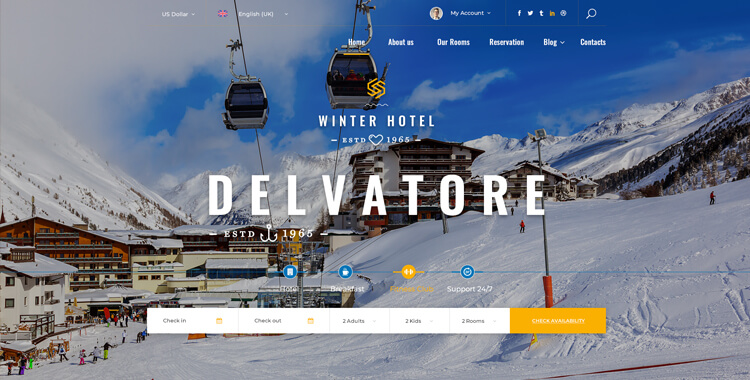 Hotel Delvatore Winter - Bootstrap 4 Theme