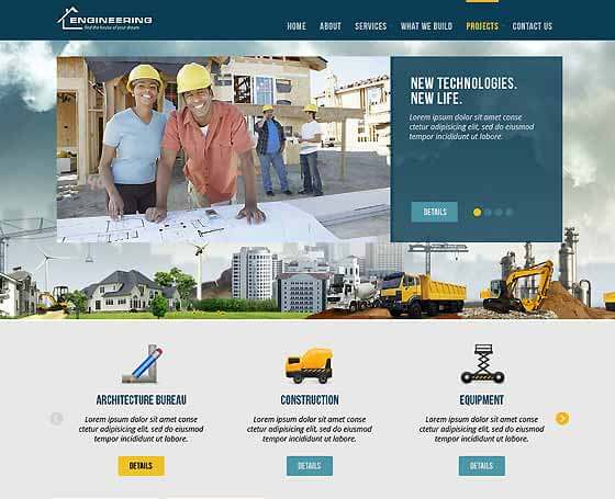 civil engineering free bootstrap theme