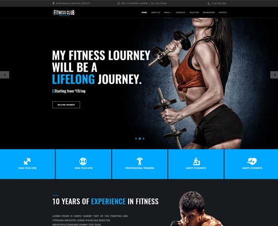 Gym - bootstrap 4 theme