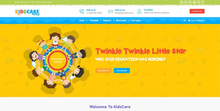 KIDZCARE - Kindergarten Children Day Care Template | Gridgum
