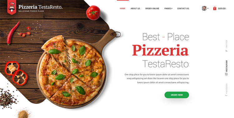 Pizzeria HTML Bootstrap template