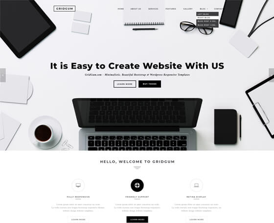 Black and white psd template