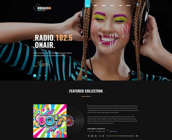 Region Radio Bootstrap 4 Template