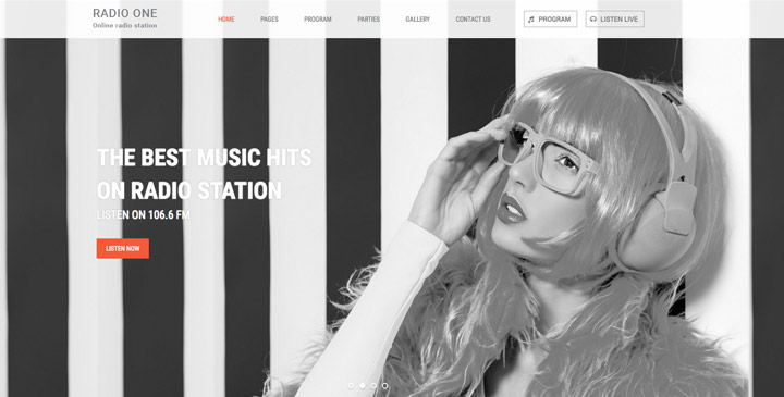 Radio HTML Bootstrap Template