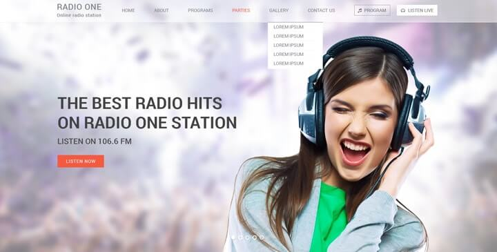 Radio Bootstrap Template