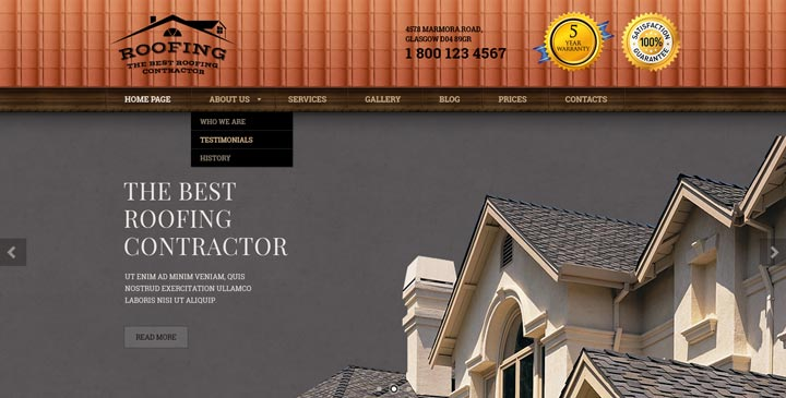 Roofing Bootstrap Template