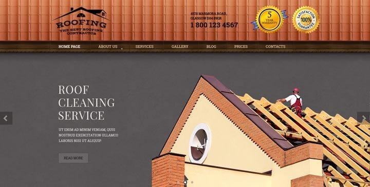 Roofing Bootstrap Website Template