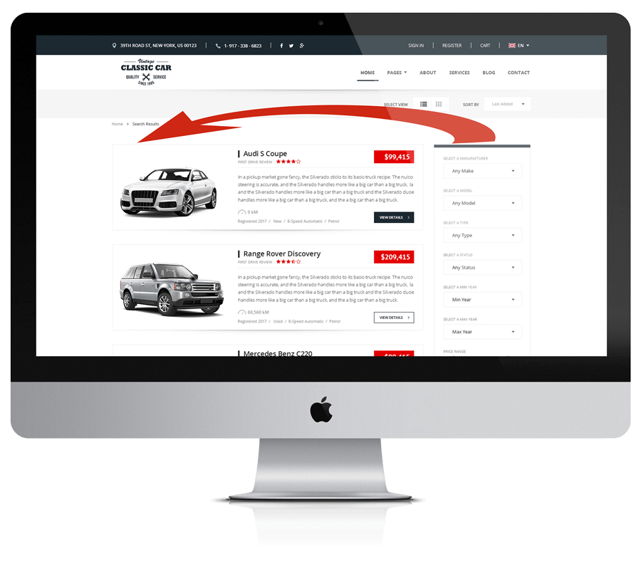Car Marketplace template sidebar