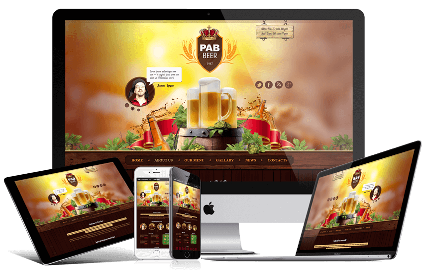 beer pub bootstrap responsive screen