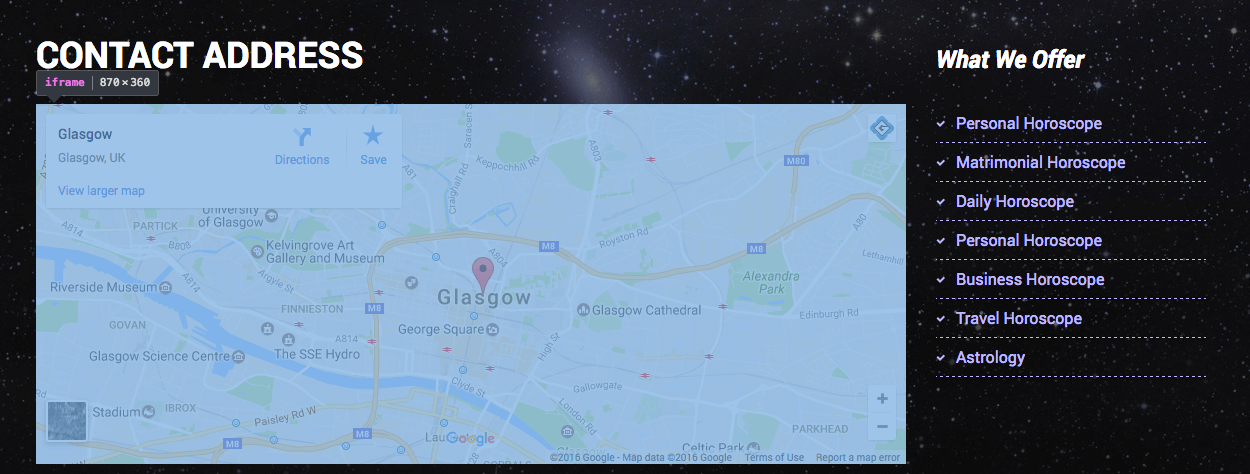 How to set google map location in bootstrap theme | Gridgum
