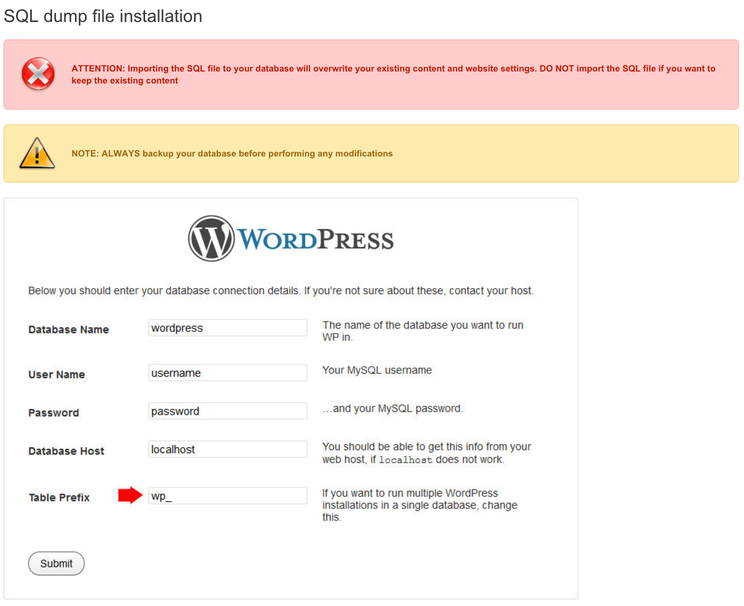 SQL dump file installation in wordpress template