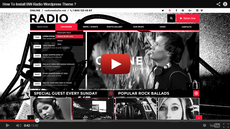 How to install BW Radio WordPress Theme