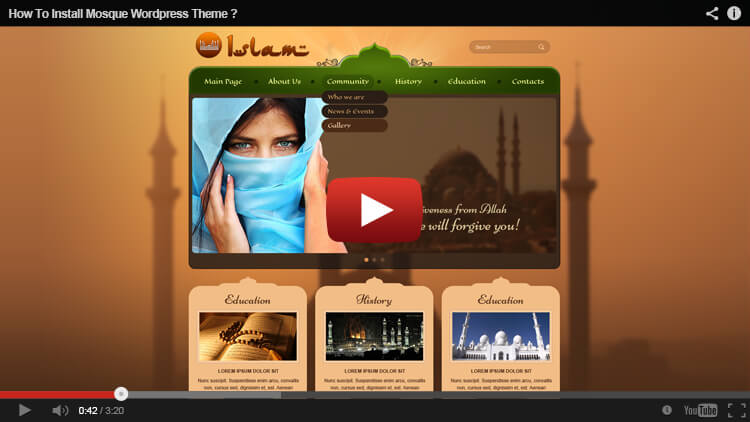 How to install mosque WordPress theme
