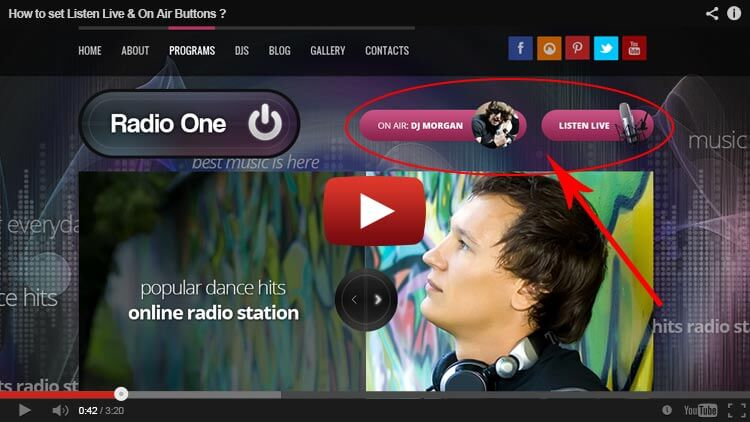 how to set listen live button