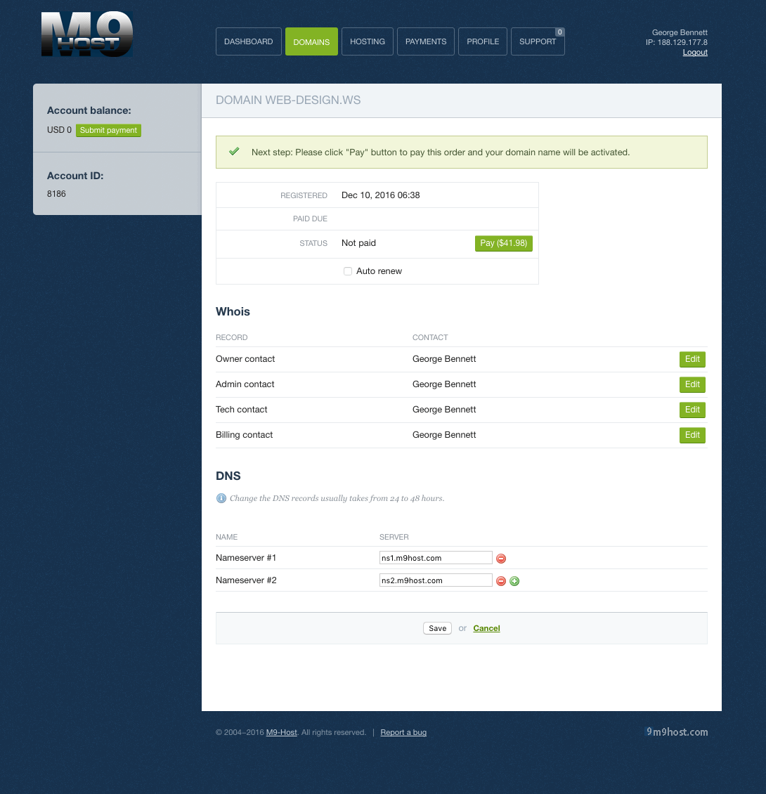 M9host Dashboard