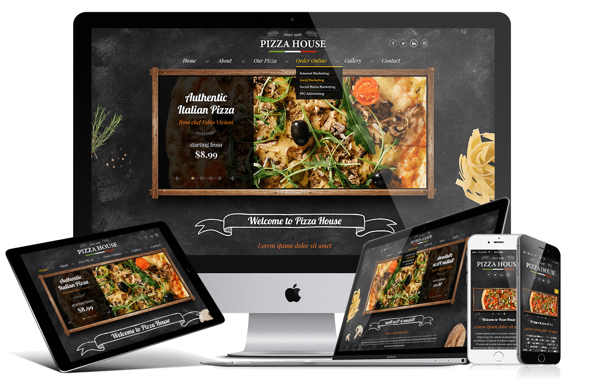 Pizza website template pizza website design gridgum buy the pizza website template for your pizzeria trust us and you will get the best service from us pronofoot35fo Images
