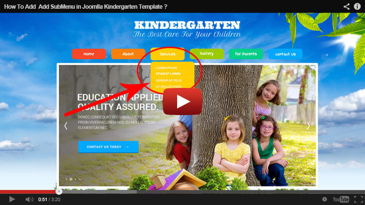HOW TO ADD SUBMENU IN JOOMLa KINDERGARTEN THEME