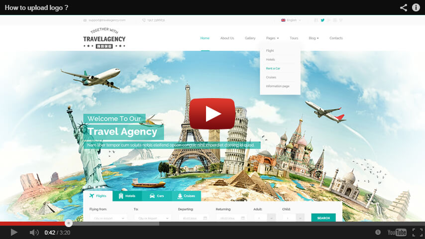 HOW TO Upload Logo in Travel Agency WordPress THEME