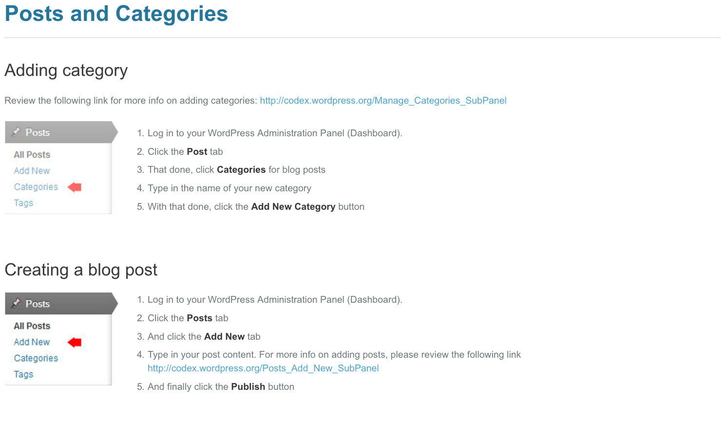 part of WordPress theme documentation