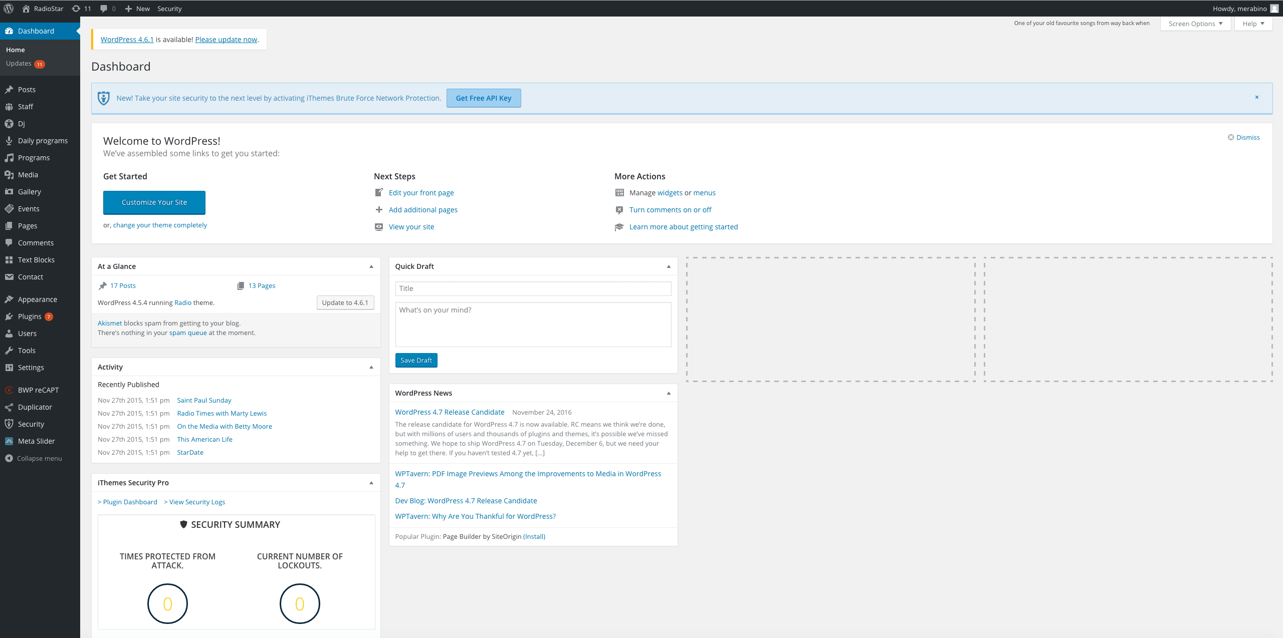 wordpress administrator's page