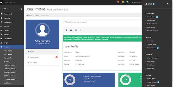 html admin template