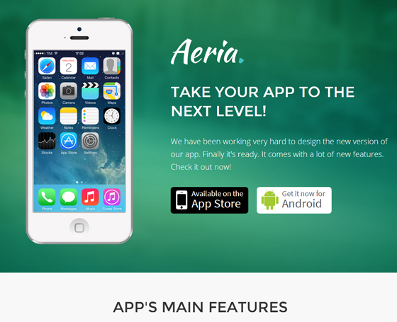Aeria - Bootstrap App Landing Page