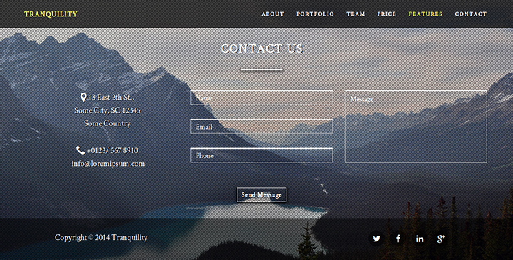 Tranquility - One-Page HTML5 Template