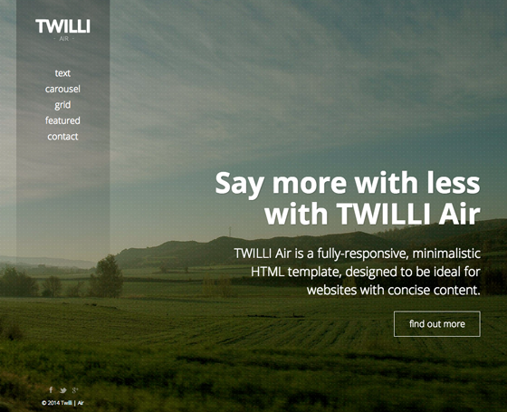 TWILLI Air - Minimalist One-Page Theme