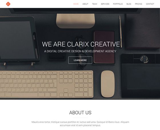 Clarix u2013 Creative Agency One Page