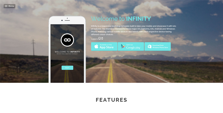 Infinity - Mobile App HTML5 Website Template