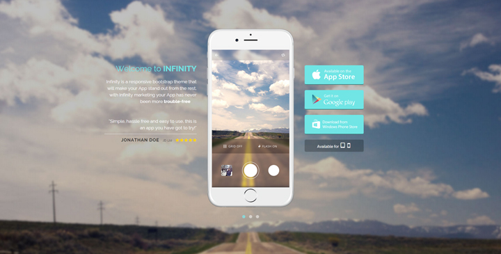 Infinity - Mobile App HTML5 Bootstrap Template