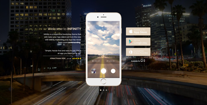 Infinity - Mobile App HTML Template