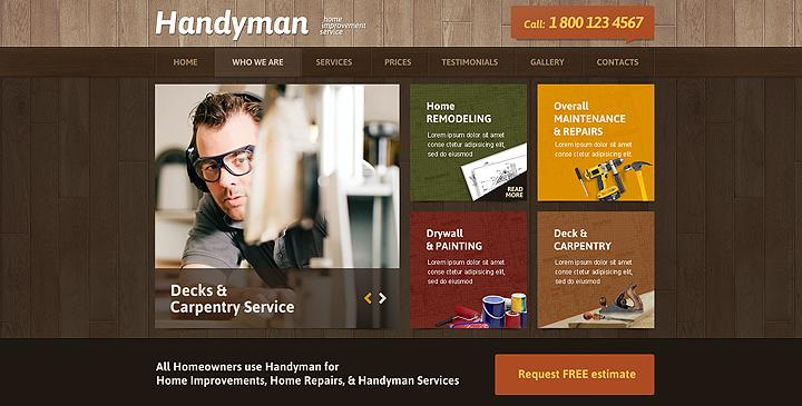 Handyman website template, Handyman service theme | Gridgum