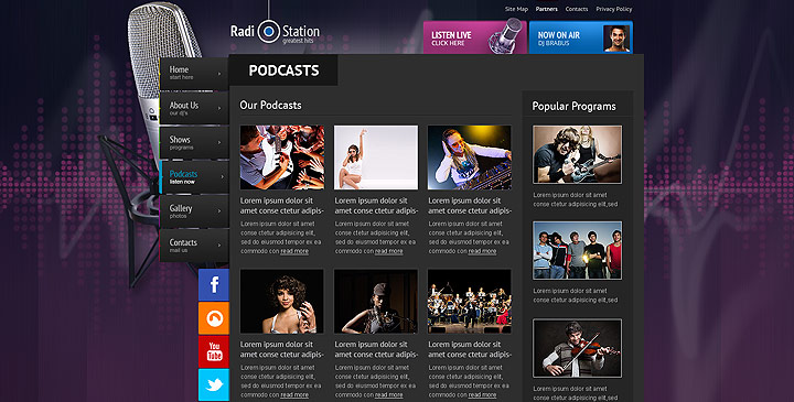 Radio Template Online Radio Station Website Template Gridgum - Podcast website template