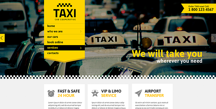 taxi website templates
