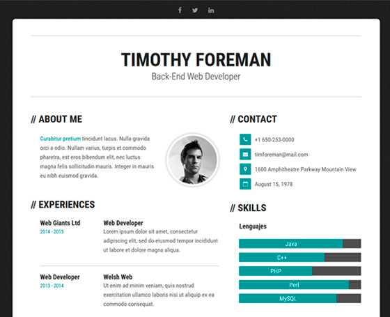 SIMPLENESS - CV Resume Template