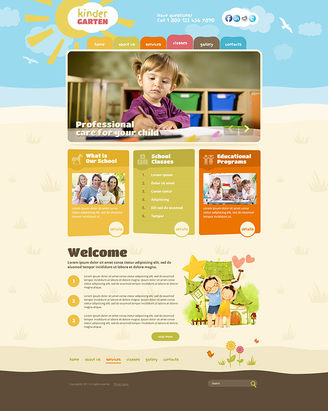 kindergarten theme, kindergarten wordpress template