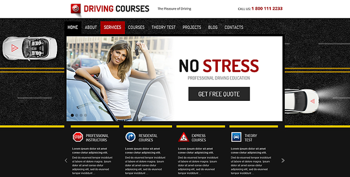 Wordpress driving school template