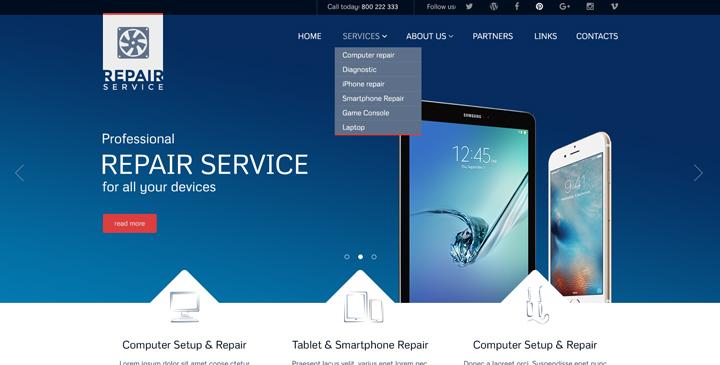 Computer Service Website Template PC Repair Theme Gridgum